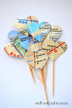 12 Heart Cupcake Picks, made from New York Subway Maps New York Party, Grad Parties, Holiday Parties, Going Away Parties, Prom Themes, Travel Party, New York Wedding, Cupcake Picks, Cupcake Toppers