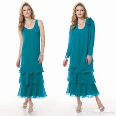 Teal Green Mother of the Bride Dresses Tea Length Chiffon Two Pieces with Jacket Jewel Sexy Cheap Women Wedding Party Evening Dresses 2015 Online with $103.67/Piece on Sweet-life's Store | DHgate.com
