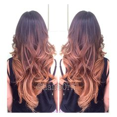 Caramel Balayage ombré and haircut with lots of blended layers by Emilee. Studio chroma, Miami.