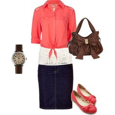A fashion look from April 2014 featuring see through shirt, white tank top and lace up flats. Browse and shop related looks. Casual Skirt Outfits, Modest Outfits, Modest Fashion, Outfits For Teens, Cute Outfits, Modest Wear, Fashion Outfits, Teen Fashionista, Putting Outfits Together