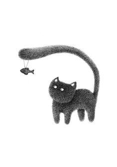 Gato impresión la serie cosa peluda Kitty No.7 motivar a #CatArt