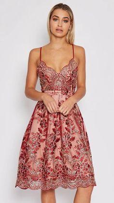 c0edb8926c3 A-line V-neck Flower Print Spaghetti Straps Knee-length Lace Dress