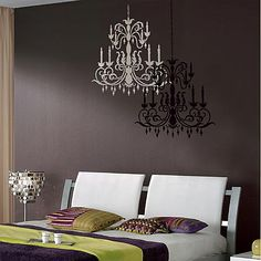 Chandelier wall stencil. If you do one light and one dark it looks 3D like it's actually hanging on the wall!