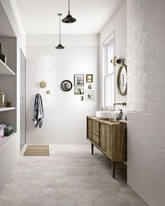 Bathroom inspiration... Love the tile and colour palate! The art arrangement!! It's just classically beautiful!! Project by: Marazzi Image via: marazzi.it #homedesign #lifestyle #style #designporn #interiors #decorating #interiordesign #interiordecor #architecture #landscapedesign