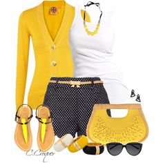 """Polka Dots Shorts"" by ccroquer on Polyvore"
