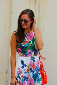 @eshakti floral dress with red @katespadeny purse and purple @quayaustralia sunglasses.