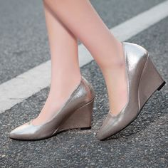 39.79$  Watch more here - http://aidtb.worlditems.win/all/product.php?id=32646402940 - Fashion Simple Gold Sliver Beige Pink PU Pointy Toe Shallow Mouth Slope Heels Wedges Shoes For Women Elegant OL Footwear