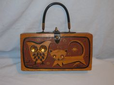 Enid Collins Owl and Pussycate Wooden Box Purse. $150.00, via Etsy.