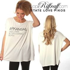 Comfy and cute, flaunt your state love in our Riffraff exclusive copyrighted design on your favorite Piko tee! Model is wearing a size small.