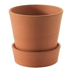 """IKEA - INGEFÄRA, Plant pot with saucer, indoor/outdoor/terracotta, 4 ¾ """", , The porous terracotta holds excess water, so the plant can draw out moisture when needed.It's possible to plant directly in the pot because it has a drainage hole in the bottom and a saucer to collect excess water."""
