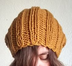 Yellow Knit Hat Slouchy Hat Beanie Hat Unisex by DragonflyStrand