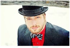 The Man in the Bowler Hat.  Magritte Meets Dr. Who.  :)  Bowtie.  Red shirt.  Blue eyes.  Dapper vintage snowy photo shoot.  Creative photography.  :)