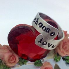 Choose Love Ring / Metal Stamped Jewelry / Valentine's Day Gift / Gift for Girlfriend Cute Valentine Ideas, Valentine Day Gifts, Gifts For Girls, Gifts For Him, Valentines Jewelry, Holiday Jewelry, Diy Gifts, Unique Gifts, Hand Stamped Metal