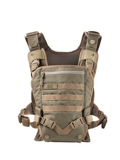 The Mission Critical Baby Carrier is a front carry baby carrier. Simple intuitive design makes it easy to put on and secure your baby. Baby can face in or out, depending on their stage of development.