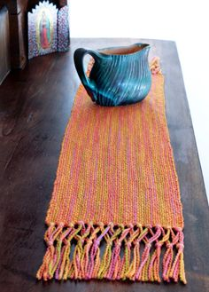 """The latest Get Warped column from Knitty includes a free pattern for my """"Vanilla Cake Table Runner"""" recipe, just add your yarn of choice and decorate with a fancy fringe."""