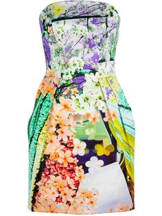 So would wear this!!  Multicoloured jacquard silk bustier dress from Mary Katrantzou featuring a floral print, a bustier reinforced with boning, pleating on the skirt and a zip fastening at the back.