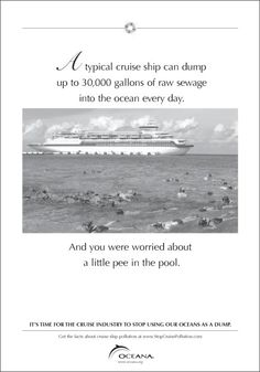A typical cruise ship can dump up to 30,000 gallons of raw sewage into the ocean every day. And you worried about a little pee in the pool.