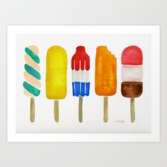 Americanflat Popsicles by Cat Coquillette (Framed Canvas) Unframed Prints, Popsicles Painting, Art Prints, Framed Art, Painting Prints, Art, Popsicle Art, Popular Art, Framed Art Prints