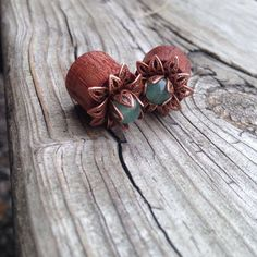 Bloodwood Lotus Flower Plugs with Stone for Stretched Ears Sizes 00g(10mm) through 9/16 inch (14mm) Wooden Plug Gauges/