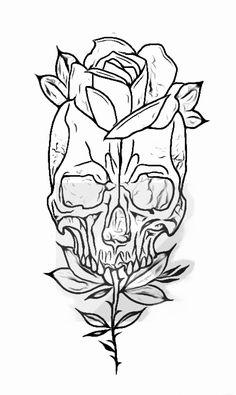 Tattoo Outline Drawing, Tattoo Design Drawings, Skull Tattoo Design, Outline Drawings, Skull Tattoos, Tattoo Sketches, Tattoo Designs, Drawing Stencils, Tattoo Stencils