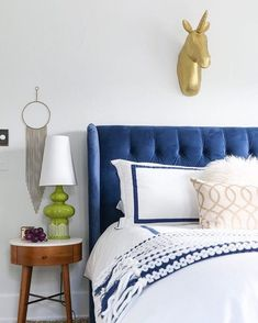 Dark Blue tufted wingback headboard via inspiredbycharm Blue Headboard, Velvet Headboard, Wingback Headboard, Tufted Headboards, Door Headboards, Small Master Bedroom, Blue Bedroom, Home Decor Bedroom, Navy Bedrooms