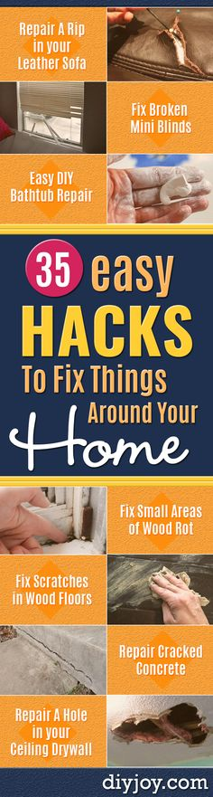Easy Home Repair Hacks - Quick Ways to Easily Fix Broken Things Around The House - DIY Tricks for Home Improvement and Repairs - Simple Solutions for Kitchen, Bath, Garage and Yard - Caulk, Grout, Wall Repair and Wood Patching and Staining Bathtub Repair, Diy Bathtub, Bathroom Repair, Diy Hacks, Repair Cracked Concrete, Wood Floor Repair, Diy Blanket Ladder, Home Fix, Diy Home Repair