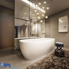 Bathroom lighting ideas: Bathroom with hanging lights over bathtub