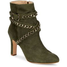 f467215a501 Schutz Izzy Ankle Wrap Suede Boots Suede ankle boots with buckle chain  strap Block heel
