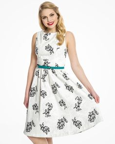 Audrey White Rabbit Floral Print Swing Dress | 1950's Inspired Fashion | Lindy Bop