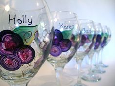 Hand painted girls night in wine glasses by Judi Painted it! Free personalization, many designs and colors available! 20oz wine goblets are $24 each. View and shop more designs and glassware at judipaintedit.com or http://www.etsy.com/shop/JudiPaintedit?ref=top_trail Free personalization
