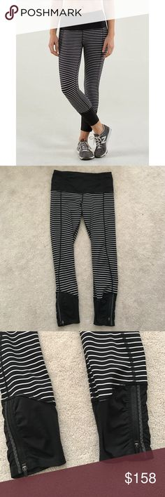 Lululemon. Runday Crop. Black Parallel Stripe. Excellent condition! Believe it or not, I'm not in to striped pants anymore. Lowballers and rude commenters will be blocked instantly. Cheaper through BST.  🚫 no trades ✖️ no holds 🔵 offers considered through the offer button ♻️ if it's listed, it's available lululemon athletica Pants Leggings