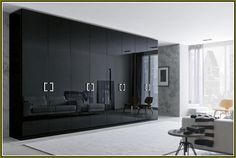 With Honeycomb Sandwich Glossy Black Large Bedroom Wardrobe Closet Design Eight Doors Light Grey Sheer Curtains Ideas And White Rug