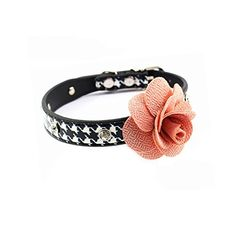 PETFAVORITES Rhinestone Dog Collar Rose Flower Crystal Dog Jewelry Houndstooth Leather Cat Collar Kitten Teacup Puppy Toy Yorkie Chihuahua Clothes Costume Accessories Pattern C Size S ** More info could be found at the image url.Note:It is affiliate link to Amazon.