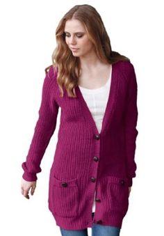 Ellos Plus Size Button-Down Cardigan (Deep Claret,L) Ellos. $32.49