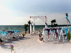 An island oasis with a beautiful blend of eggplant and blue sashes. Suncoast Weddings go the extra mile to make every detail count at your perfect Florida Beach Wedding!