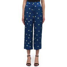 Buy Whistles Edwina Print Silk Trousers, Navy Online at johnlewis.com