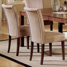 Classic Peat Microfiber Side Chairs Set of 2 Dining Room Table Furniture Dinner