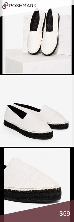 ♣️NEW♣️ Greycity Nox Leather Espadrilles ♣️ NEW White Leather Espadrilles Shoe by Greycity. The Nox shoe is made of white leather and features a scale texture, slip on design, black jute-wrapped outsold, and rubber sole. True to size. Imported and in original box. Size 7.5 $59   🌸 Please ask all your questions before you purchase. I'm happy😊 to help  🌸 Sorry, no trades or hold. 🌸 Please, no lowball offers. 🌸 Please use the Offer Button 🌸 Bundle for your best prices 🌸 Ships next day…