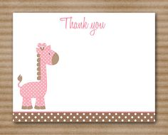PRINTABLE Giraffe Thank You Cards Baby by PaperHouseDesigns
