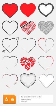 15 Vector Hearts (Ai, Eps)