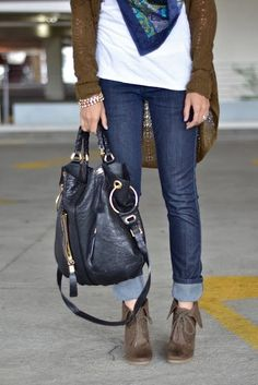 booties with cuffed jeans | Fold-over booties + cuffed jeans. | Nice duds.