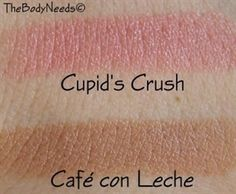 """Lip Luster by TheBodyNeeds in """"Café con Leche""""- Creamy Neutral Beige and """"Cupid's Crush"""" - Light peachy pink."""