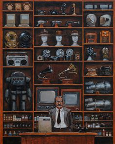 The General Store by Bewheel on DeviantArt Inspiration For The Day, Traditional Artwork, Detail Art, Entertainment System, General Store, Antique Stores, Dieselpunk, Design Art, Cool Art