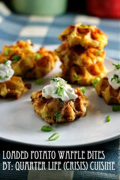 Loaded potato waffle bites. SO GOOD. Use leftover mashed potatoes, add an egg, cook in the waffle iron. Delicious. Click through for the whole recipe. By Quarter Life (Crisis) Cuisine
