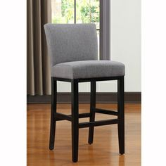 Portfolio Orion Charcoal Gray Linen Upholstered 30 Inch Bar Stool This From Brings A Refined Charm To Any