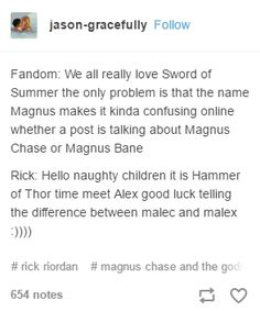 I've always thought about it like maybe Rick Riordan is a Malec shipper Percy Jackson Memes, Percy Jackson Fandom, Magnus Chase, Solangelo, Percabeth, Alex Fierro, Asgard, Will Herondale, Pokerface