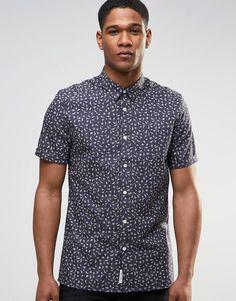 Image 1 ofRiver Island Short-Sleeve Shirt In Black In Regular Fit