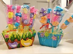 Peep Kabob Garden  Easy. A fun Easter treat!   Poke peeps through long lollipop sticks. I displayed them in a felt basket (foam at bottom to poke sticks through) Decorate each kabob with ribbons (plastic candy bag over it.) 30 min start to finish.