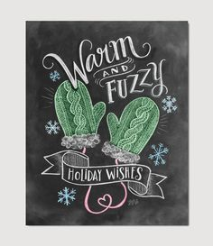 inspiration for card making ... chalkboard techique ... sweet print: Warm & Fuzzy Holiday Wishes ... from Lily & Val