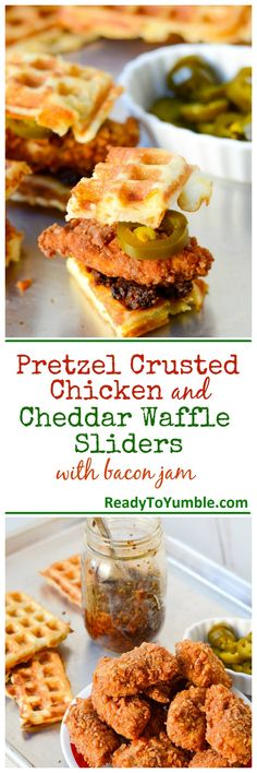 Pretzel Crusted Chicken and Cheddar Waffle Sliders with Bacon Jam - Bite sized packages of crispy, smoky, cheesy heaven.